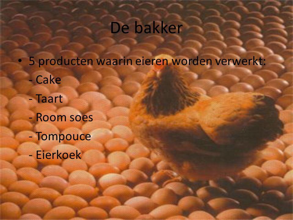 De bakker 5 producten waarin eieren worden verwerkt: - Cake - Taart - Room soes - Tompouce - Eierkoek