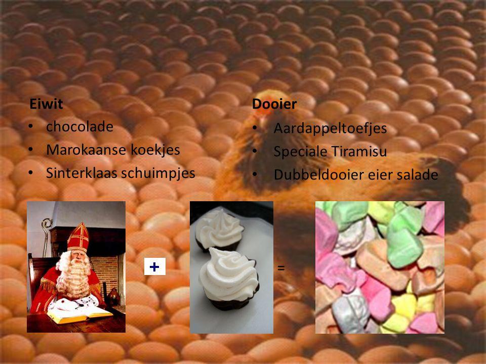 Eiwit chocolade Marokaanse koekjes Sinterklaas schuimpjes Dooier Aardappeltoefjes Speciale Tiramisu Dubbeldooier eier salade =