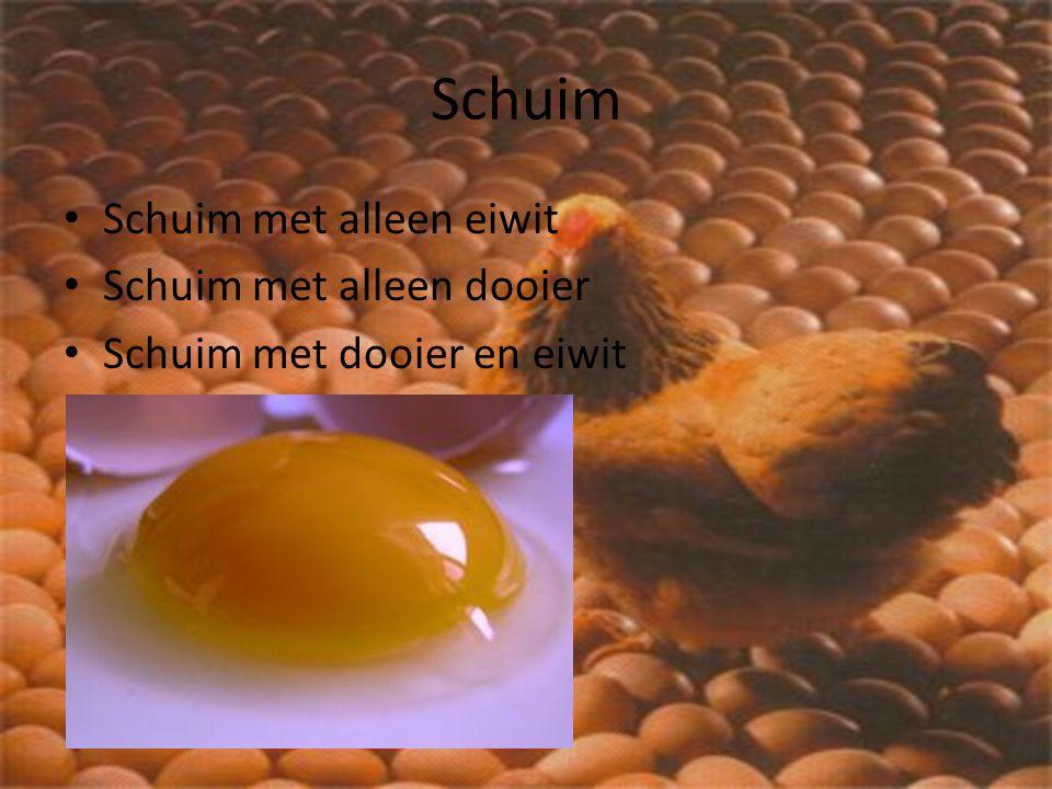 Schuim Schuim met alleen eiwit Schuim met alleen dooier Schuim met dooier en eiwit