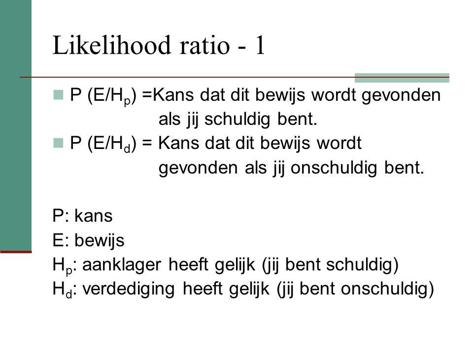 Likelihood ratio - 1 P (E/H p ) =Kans dat dit bewijs wordt gevonden als jij schuldig bent.