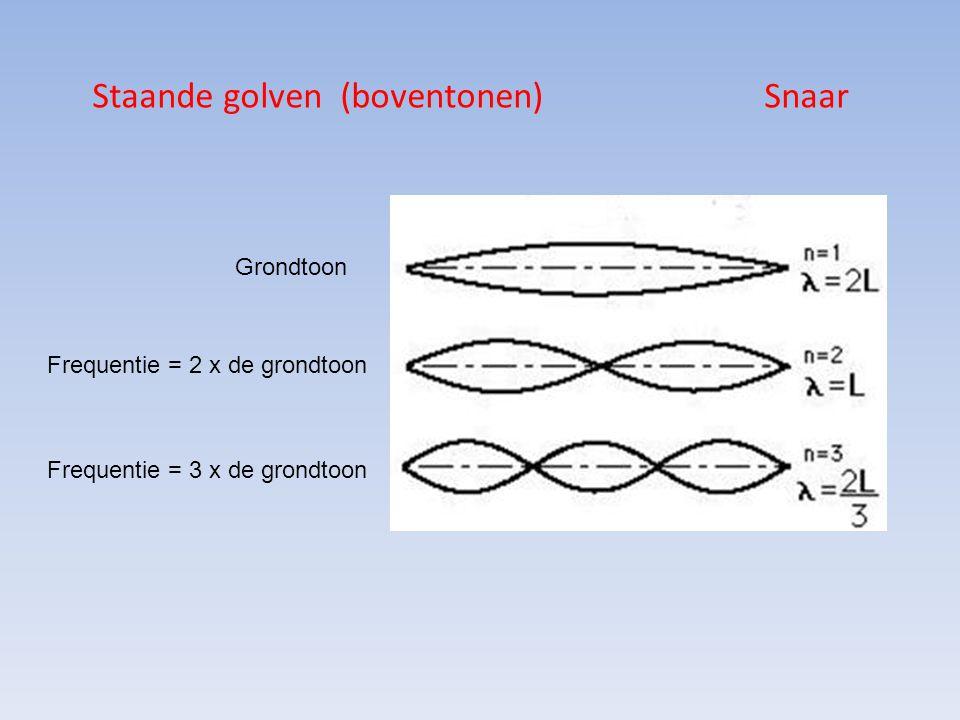 Staande golven (boventonen) Snaar Grondtoon Frequentie = 2 x de grondtoon Frequentie = 3 x de grondtoon