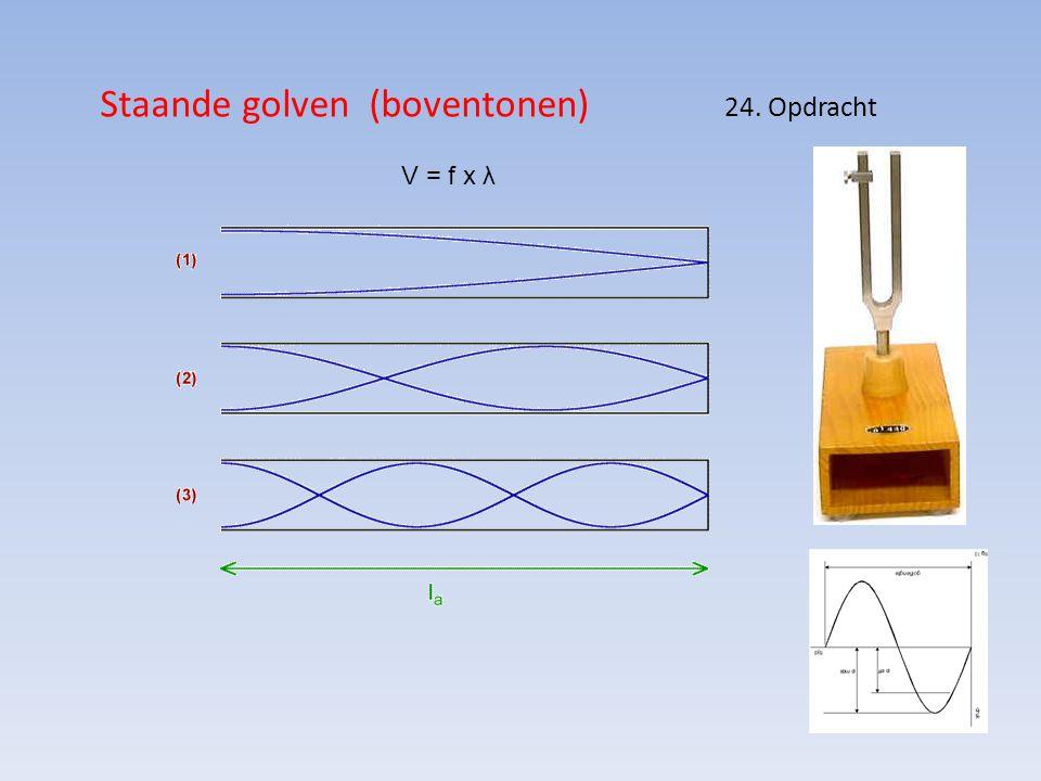 Staande golven (boventonen) 24. Opdracht V = f x λ