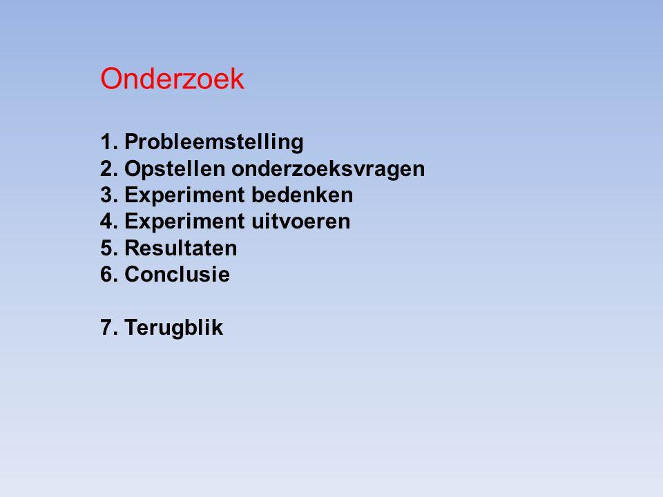 1. Probleemstelling 2. Opstellen onderzoeksvragen 3. Experiment bedenken 4. Experiment uitvoeren 5. Resultaten 6. Conclusie 7. Terugblik Onderzoek