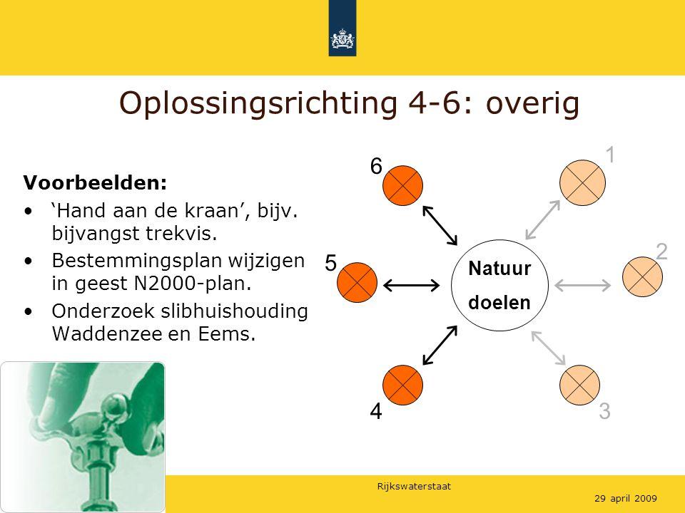 Rijkswaterstaat 829 april 2009 Oplossingsrichting 4-6: overig Natuur doelen Voorbeelden: 'Hand aan de kraan', bijv.
