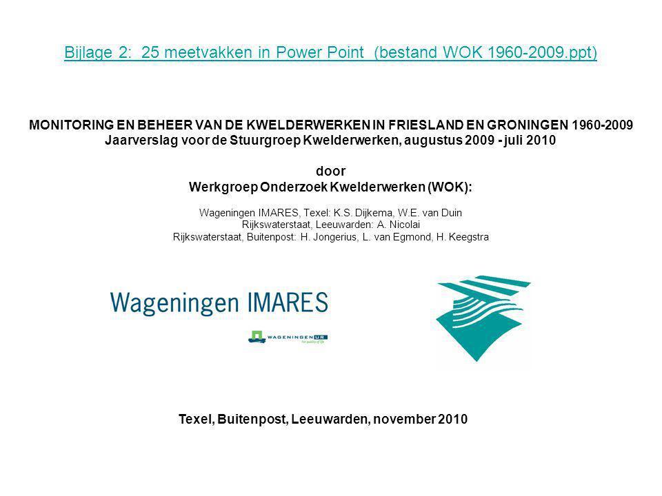Bijlage 2: 25 meetvakken in Power Point (bestand WOK 1960-2009.ppt) MONITORING EN BEHEER VAN DE KWELDERWERKEN IN FRIESLAND EN GRONINGEN 1960-2009 Jaarverslag voor de Stuurgroep Kwelderwerken, augustus 2009 - juli 2010 door Werkgroep Onderzoek Kwelderwerken (WOK): Wageningen IMARES, Texel: K.S.