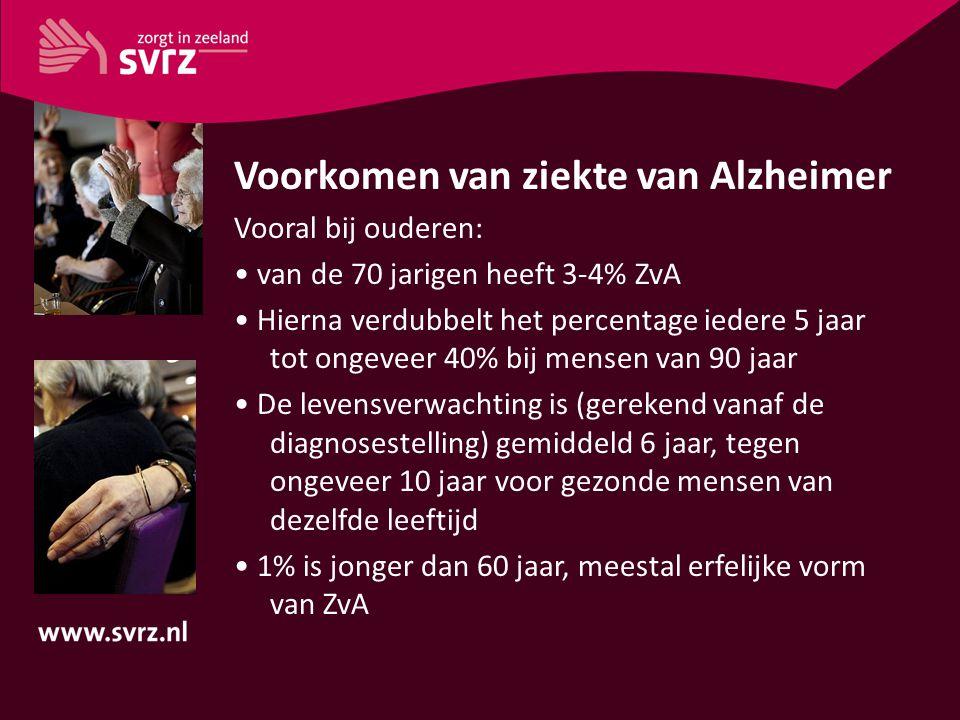 Voorkomen van ziekte van Alzheimer Vooral bij ouderen: van de 70 jarigen heeft 3-4% ZvA Hierna verdubbelt het percentage iedere 5 jaar tot ongeveer 40