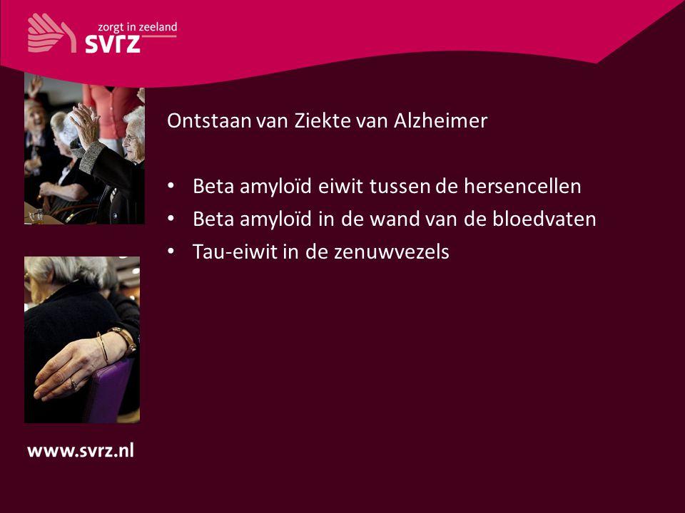 Ontstaan van Ziekte van Alzheimer Beta amyloïd eiwit tussen de hersencellen Beta amyloïd in de wand van de bloedvaten Tau-eiwit in de zenuwvezels