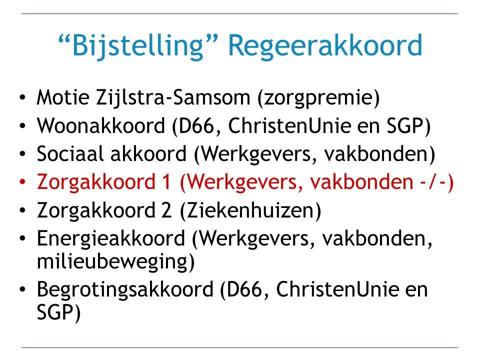 """""""Bijstelling"""" Regeerakkoord Motie Zijlstra-Samsom (zorgpremie) Woonakkoord (D66, ChristenUnie en SGP) Sociaal akkoord (Werkgevers, vakbonden) Zorgakko"""