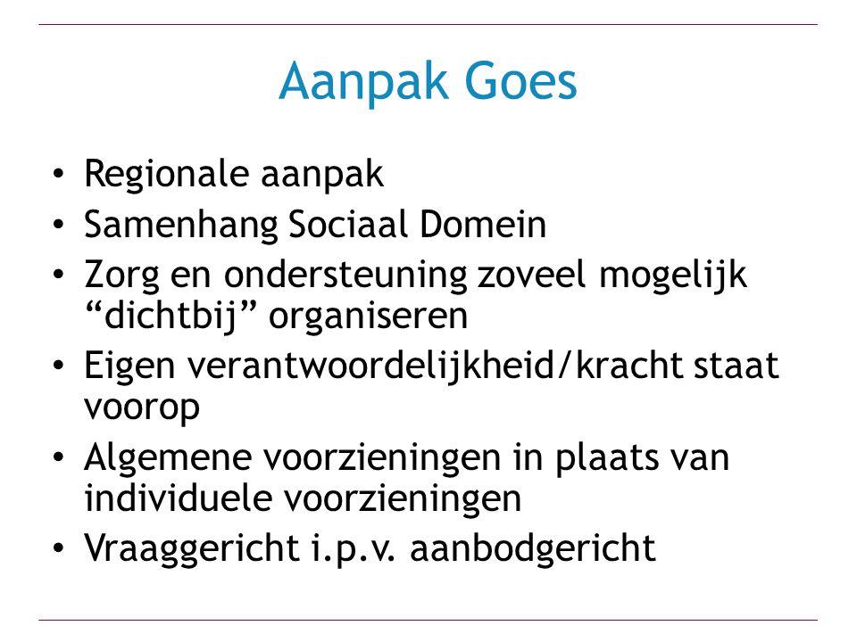 """Aanpak Goes Regionale aanpak Samenhang Sociaal Domein Zorg en ondersteuning zoveel mogelijk """"dichtbij"""" organiseren Eigen verantwoordelijkheid/kracht s"""
