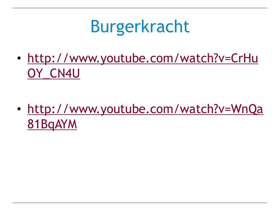 Burgerkracht http://www.youtube.com/watch?v=CrHu OY_CN4U http://www.youtube.com/watch?v=CrHu OY_CN4U http://www.youtube.com/watch?v=WnQa 81BqAYM http://www.youtube.com/watch?v=WnQa 81BqAYM