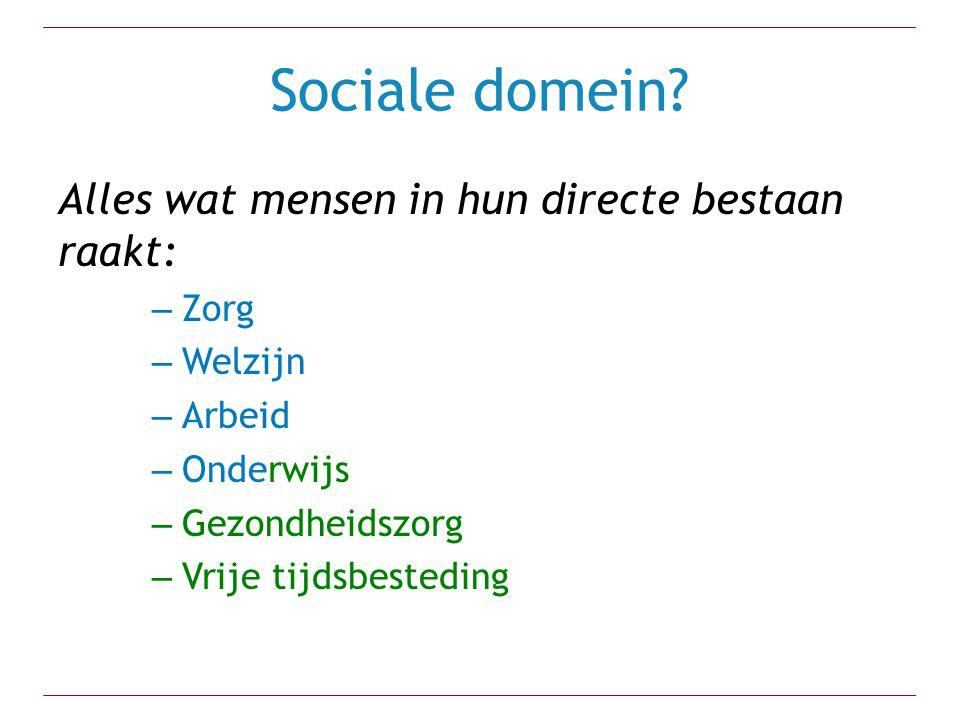 Sociale domein? Alles wat mensen in hun directe bestaan raakt: – Zorg – Welzijn – Arbeid – Onderwijs – Gezondheidszorg – Vrije tijdsbesteding