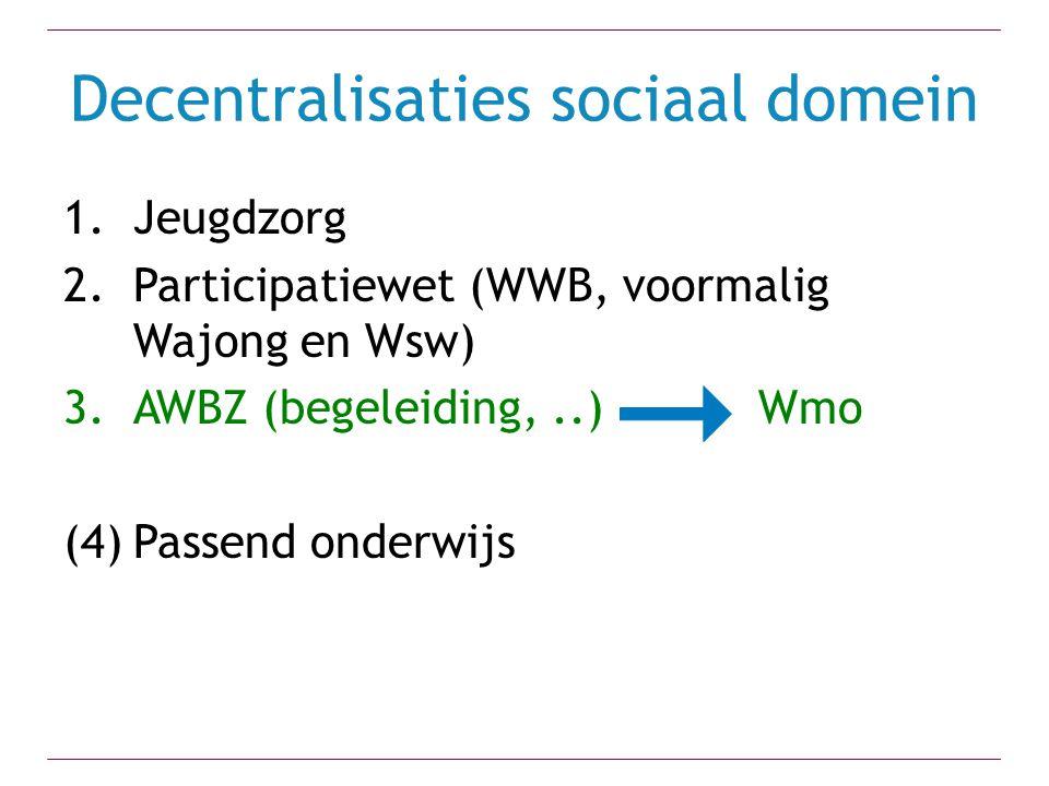 Decentralisaties sociaal domein 1.Jeugdzorg 2.Participatiewet (WWB, voormalig Wajong en Wsw) 3.AWBZ (begeleiding,..) Wmo (4)Passend onderwijs
