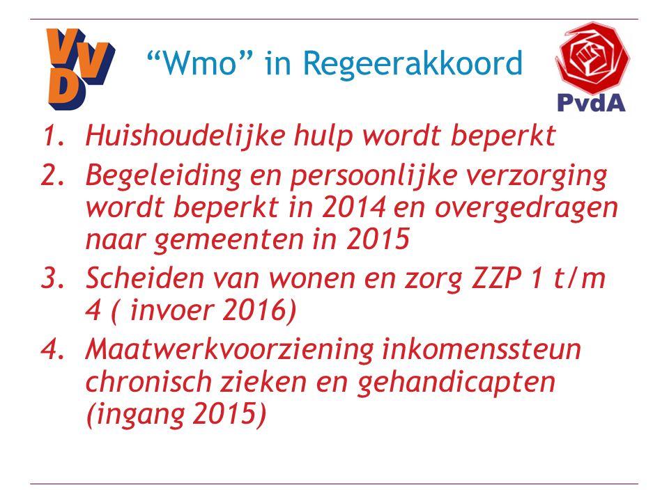 """""""Wmo"""" in Regeerakkoord 1.Huishoudelijke hulp wordt beperkt 2.Begeleiding en persoonlijke verzorging wordt beperkt in 2014 en overgedragen naar gemeent"""