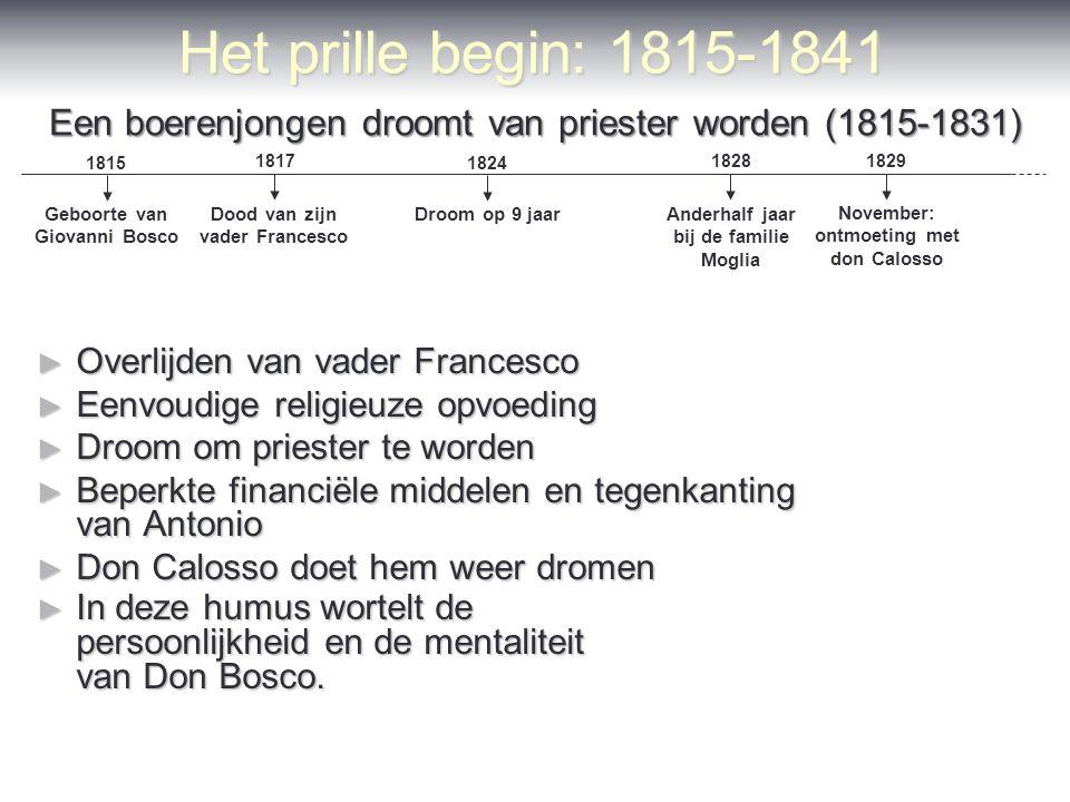 Het prille begin: 1815-1841 ► Overlijden van vader Francesco ► Eenvoudige religieuze opvoeding ► Droom om priester te worden ► Beperkte financiële mid
