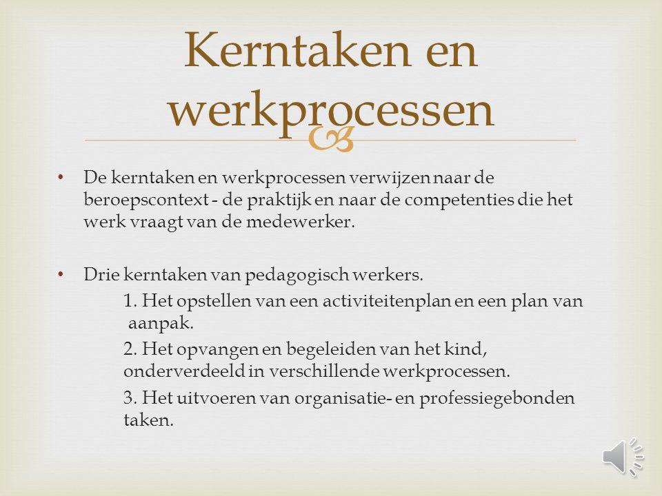  De kerntaken en werkprocessen verwijzen naar de beroepscontext - de praktijk en naar de competenties die het werk vraagt van de medewerker.