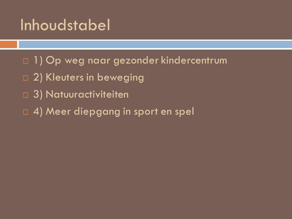 Inhoudstabel  1) Op weg naar gezonder kindercentrum  2) Kleuters in beweging  3) Natuuractiviteiten  4) Meer diepgang in sport en spel