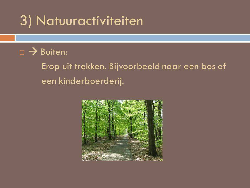 3) Natuuractiviteiten   Buiten: Erop uit trekken. Bijvoorbeeld naar een bos of een kinderboerderij.