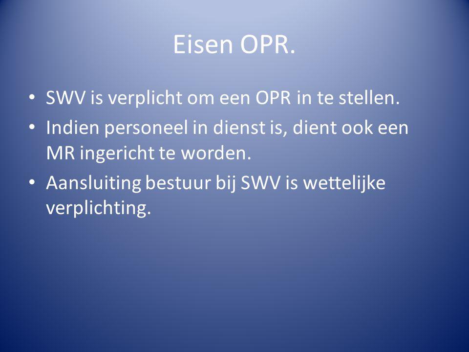 Eisen OPR. SWV is verplicht om een OPR in te stellen. Indien personeel in dienst is, dient ook een MR ingericht te worden. Aansluiting bestuur bij SWV