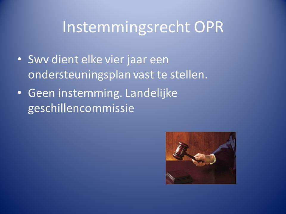 Instemmingsrecht OPR Swv dient elke vier jaar een ondersteuningsplan vast te stellen.