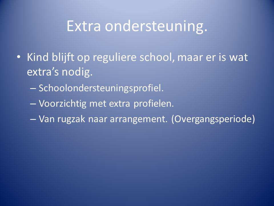 Extra ondersteuning. Kind blijft op reguliere school, maar er is wat extra's nodig. – Schoolondersteuningsprofiel. – Voorzichtig met extra profielen.