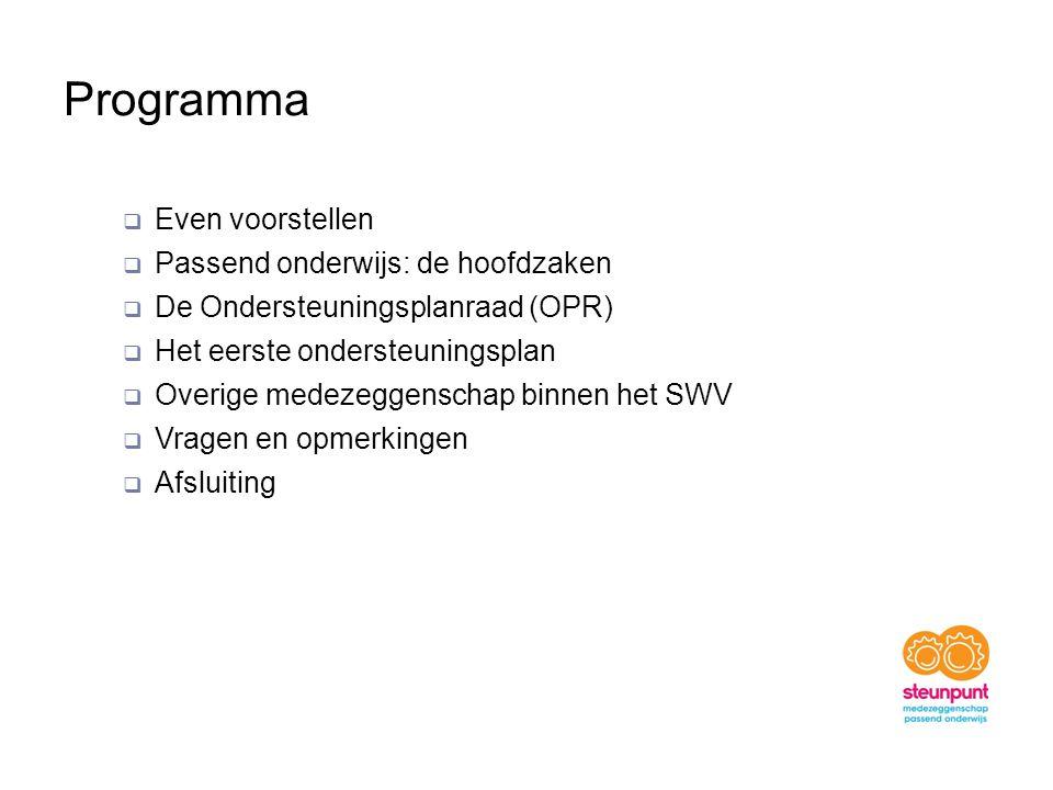 Programma  Even voorstellen  Passend onderwijs: de hoofdzaken  De Ondersteuningsplanraad (OPR)  Het eerste ondersteuningsplan  Overige medezeggenschap binnen het SWV  Vragen en opmerkingen  Afsluiting