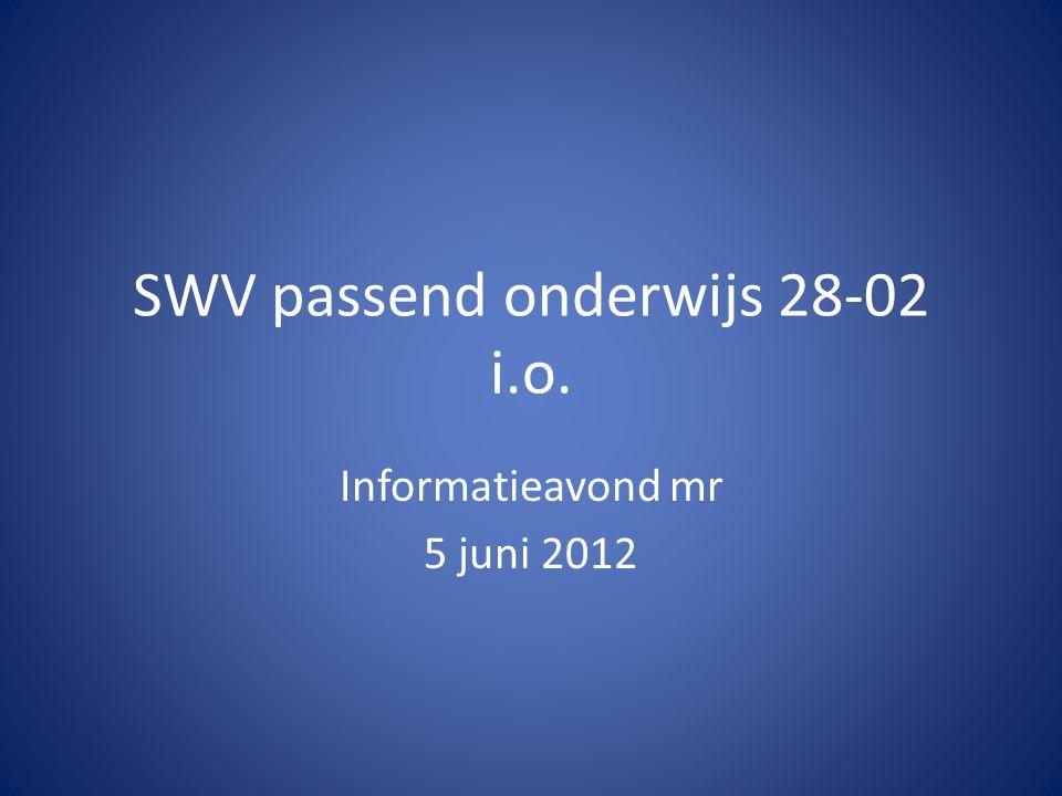 SWV passend onderwijs 28-02 i.o. Informatieavond mr 5 juni 2012