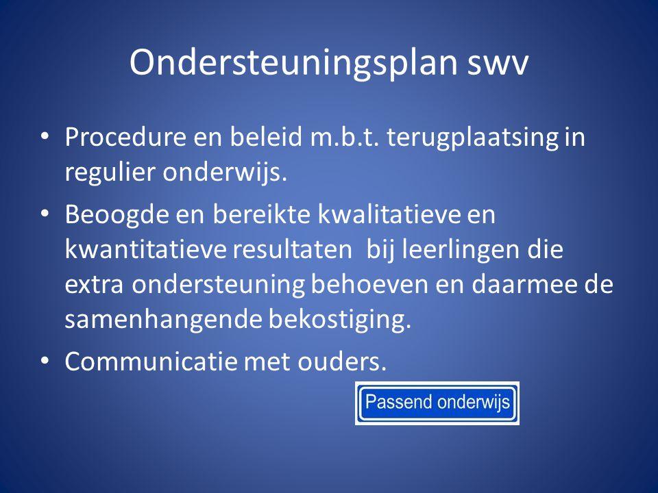 Ondersteuningsplan swv Procedure en beleid m.b.t. terugplaatsing in regulier onderwijs.