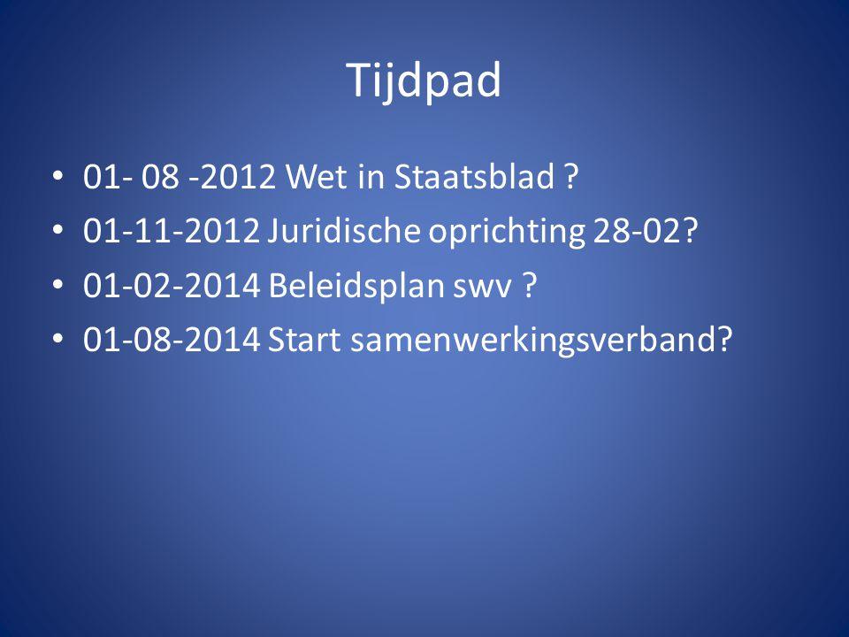 Tijdpad 01- 08 -2012 Wet in Staatsblad . 01-11-2012 Juridische oprichting 28-02.