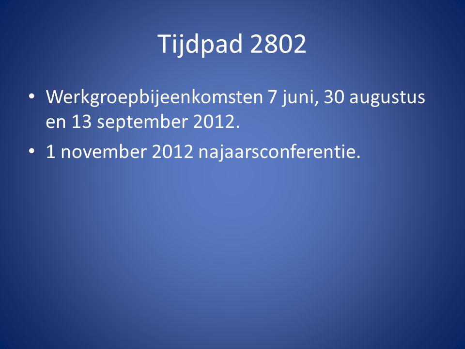 Tijdpad 2802 Werkgroepbijeenkomsten 7 juni, 30 augustus en 13 september 2012.