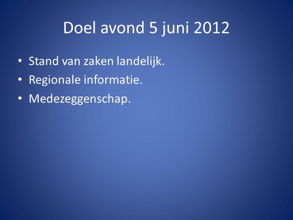 Doel avond 5 juni 2012 Stand van zaken landelijk. Regionale informatie. Medezeggenschap.