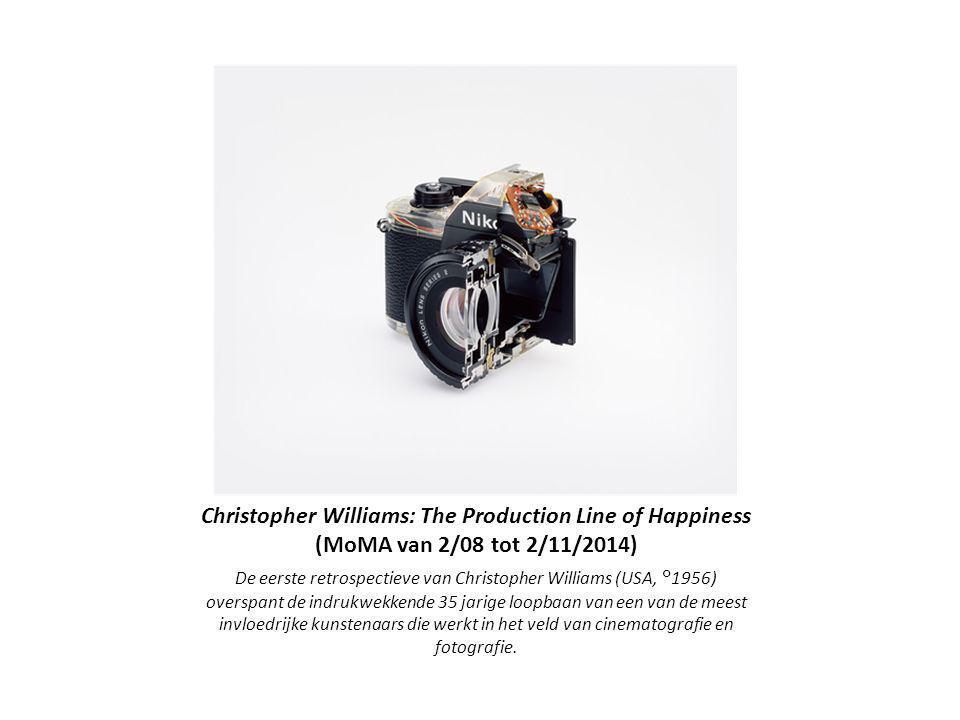 Christopher Williams: The Production Line of Happiness (MoMA van 2/08 tot 2/11/2014) De eerste retrospectieve van Christopher Williams (USA, °1956) overspant de indrukwekkende 35 jarige loopbaan van een van de meest invloedrijke kunstenaars die werkt in het veld van cinematografie en fotografie.