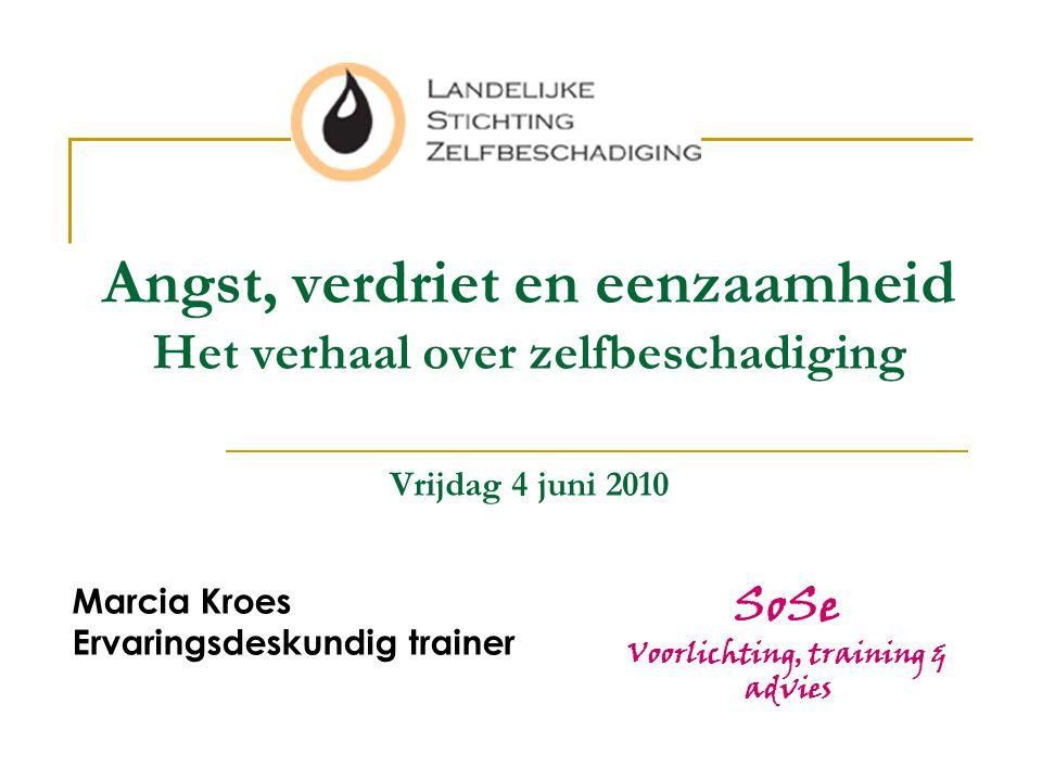 Angst, verdriet en eenzaamheid Het verhaal over zelfbeschadiging Vrijdag 4 juni 2010 Marcia Kroes Ervaringsdeskundig trainer SoSe Voorlichting, traini