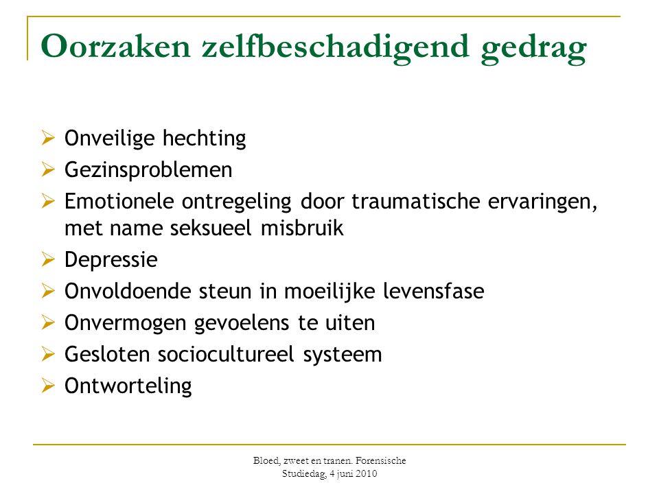 Bloed, zweet en tranen. Forensische Studiedag, 4 juni 2010 Oorzaken zelfbeschadigend gedrag  Onveilige hechting  Gezinsproblemen  Emotionele ontreg