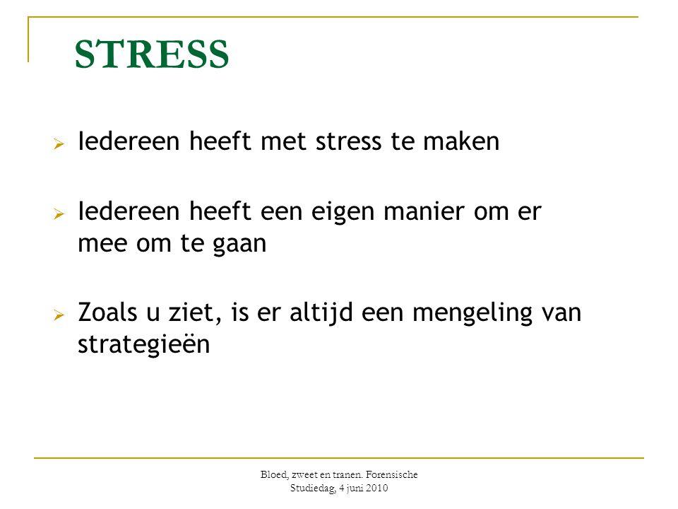 Bloed, zweet en tranen. Forensische Studiedag, 4 juni 2010 STRESS  Iedereen heeft met stress te maken  Iedereen heeft een eigen manier om er mee om