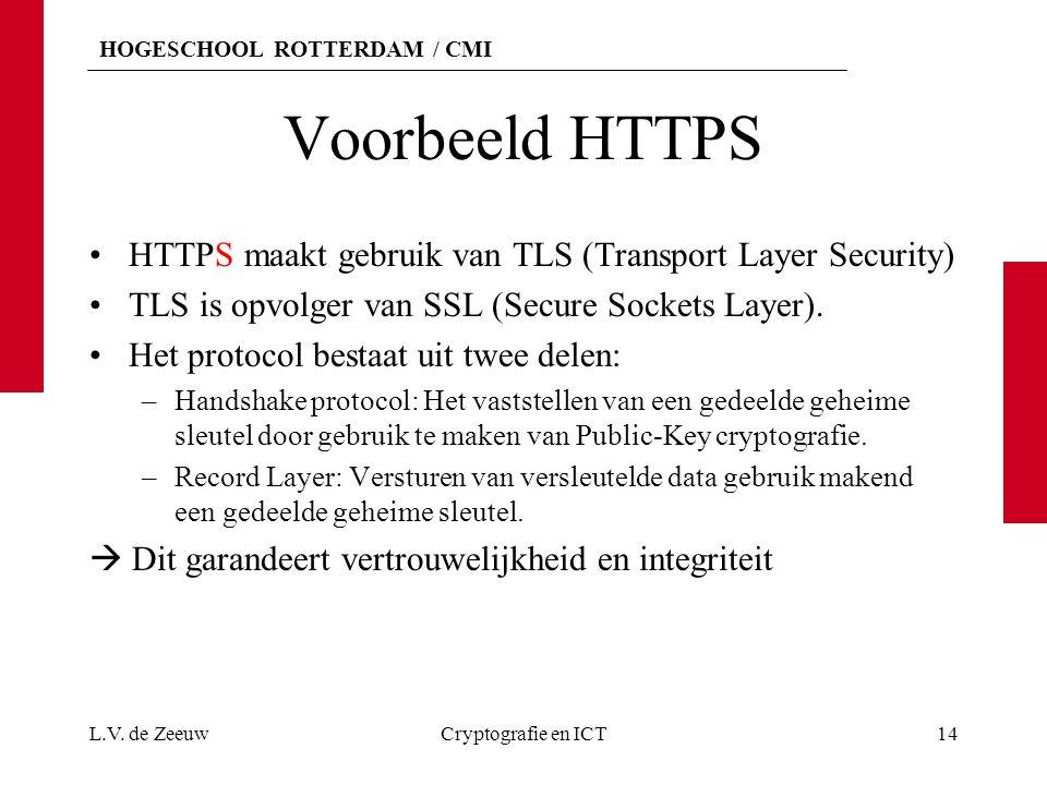 HOGESCHOOL ROTTERDAM / CMI Voorbeeld HTTPS HTTPS maakt gebruik van TLS (Transport Layer Security) TLS is opvolger van SSL (Secure Sockets Layer).