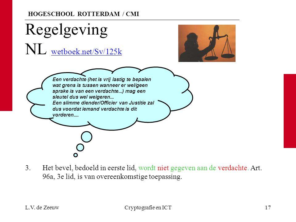 HOGESCHOOL ROTTERDAM / CMI Regelgeving NL wetboek.net/Sv/125k wetboek.net/Sv/125k 3.Het bevel, bedoeld in eerste lid, wordt niet gegeven aan de verdachte.
