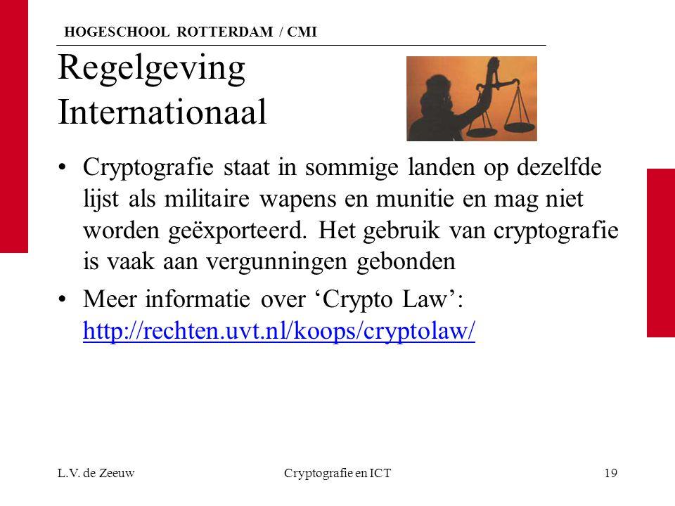 HOGESCHOOL ROTTERDAM / CMI Regelgeving Internationaal Cryptografie staat in sommige landen op dezelfde lijst als militaire wapens en munitie en mag niet worden geëxporteerd.