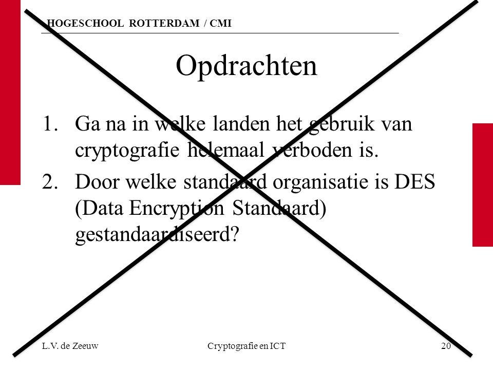 HOGESCHOOL ROTTERDAM / CMI Opdrachten 1.Ga na in welke landen het gebruik van cryptografie helemaal verboden is.