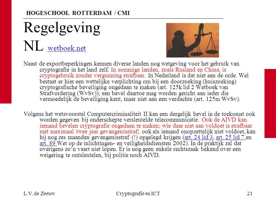 HOGESCHOOL ROTTERDAM / CMI Regelgeving NL wetboek.net wetboek.net Naast de exportbeperkingen kennen diverse landen nog wetgeving voor het gebruik van cryptografie in het land zelf.