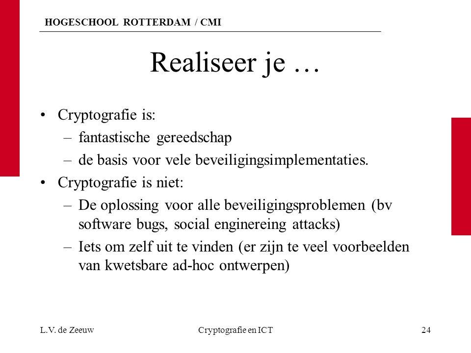 HOGESCHOOL ROTTERDAM / CMI Realiseer je … Cryptografie is: –fantastische gereedschap –de basis voor vele beveiligingsimplementaties.