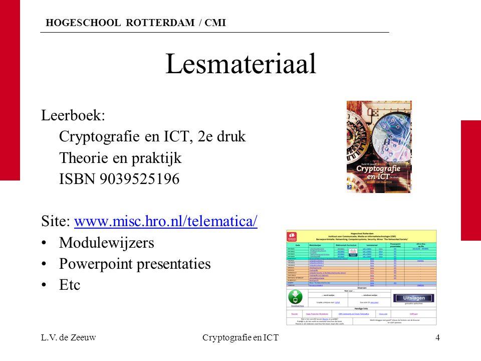 HOGESCHOOL ROTTERDAM / CMI Lesmateriaal Leerboek: Cryptografie en ICT, 2e druk Theorie en praktijk ISBN 9039525196 Site: www.misc.hro.nl/telematica/www.misc.hro.nl/telematica/ Modulewijzers Powerpoint presentaties Etc L.V.