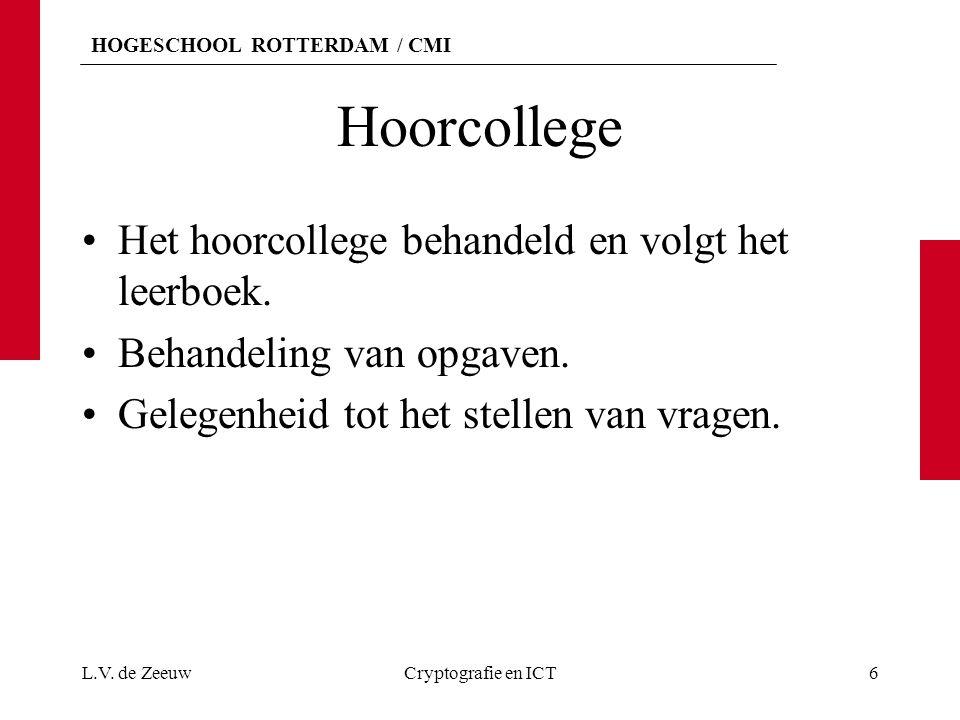 HOGESCHOOL ROTTERDAM / CMI Tentamen 40 meerkeuze vragen. L.V. de ZeeuwCryptografie en ICT7