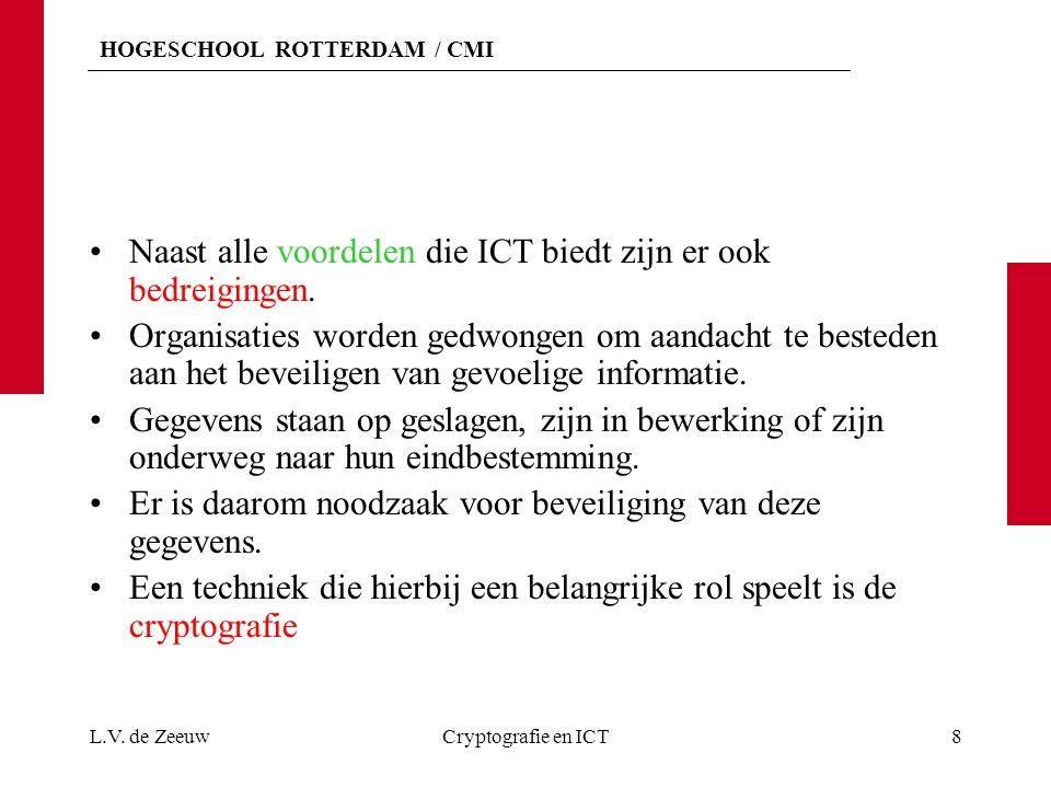 HOGESCHOOL ROTTERDAM / CMI Naast alle voordelen die ICT biedt zijn er ook bedreigingen.