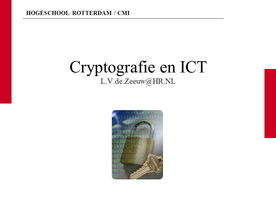 HOGESCHOOL ROTTERDAM / CMI 7 Computernetwerken en smartcards L.V. de ZeeuwCryptografie en ICT2