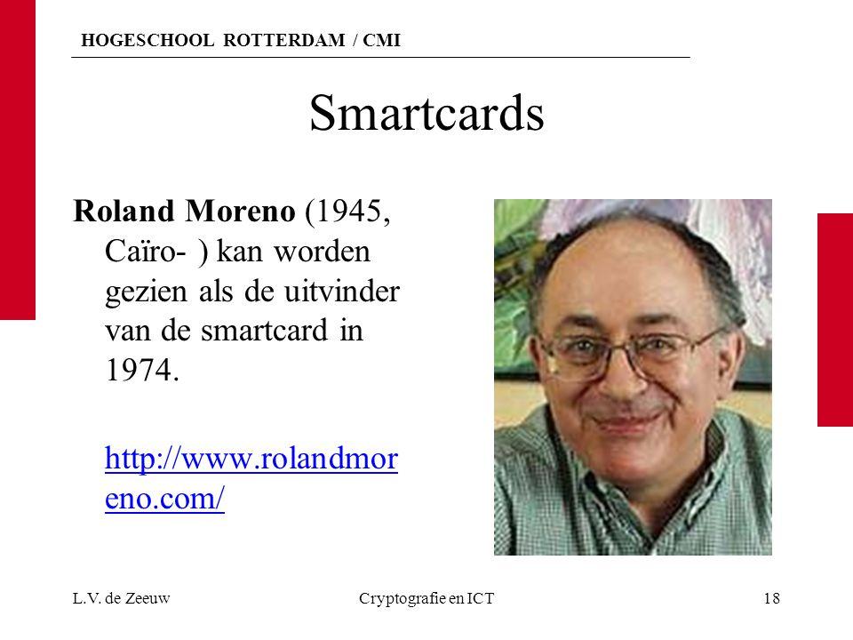HOGESCHOOL ROTTERDAM / CMI Smartcards Roland Moreno (1945, Caïro- ) kan worden gezien als de uitvinder van de smartcard in 1974. http://www.rolandmor