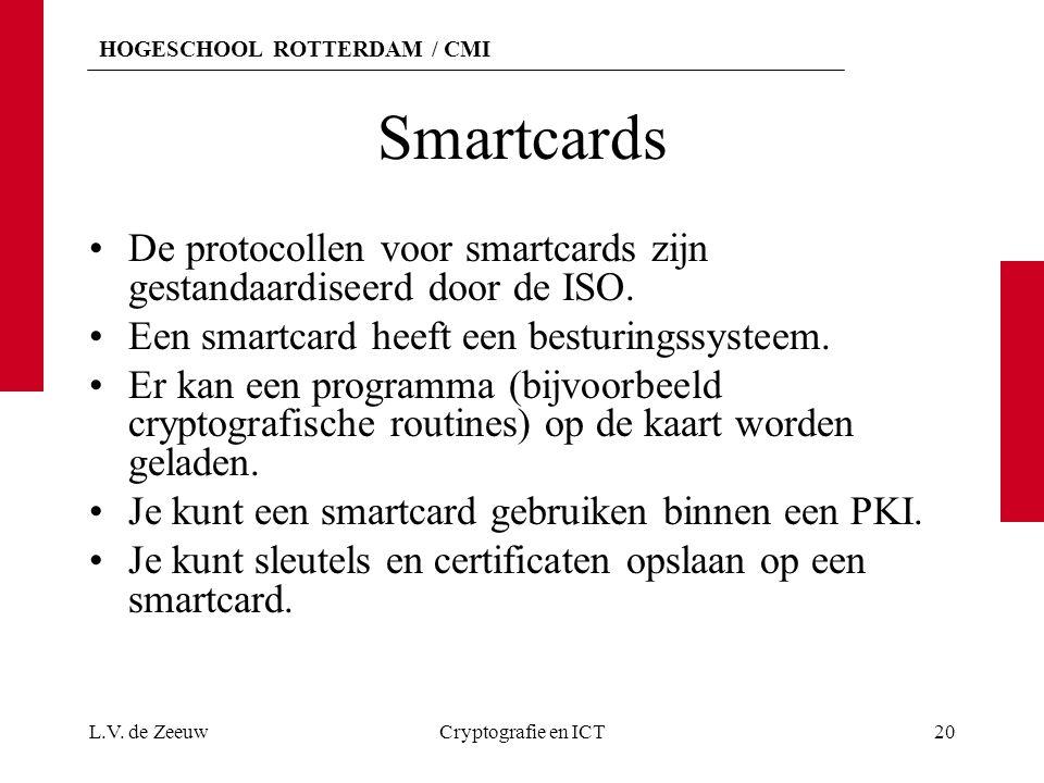 HOGESCHOOL ROTTERDAM / CMI Smartcards De protocollen voor smartcards zijn gestandaardiseerd door de ISO. Een smartcard heeft een besturingssysteem. Er