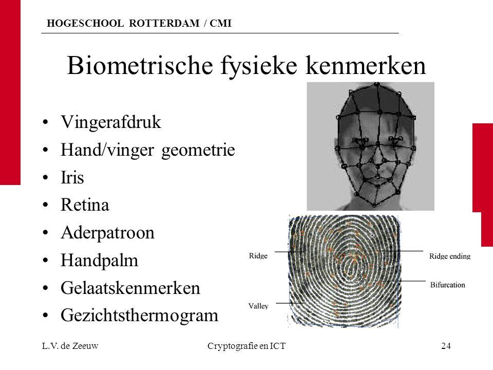 HOGESCHOOL ROTTERDAM / CMI Biometrische fysieke kenmerken Vingerafdruk Hand/vinger geometrie Iris Retina Aderpatroon Handpalm Gelaatskenmerken Gezicht