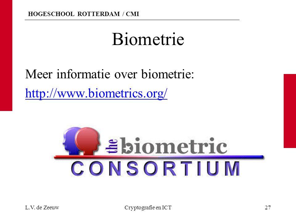 HOGESCHOOL ROTTERDAM / CMI Biometrie Meer informatie over biometrie: http://www.biometrics.org/ L.V. de ZeeuwCryptografie en ICT27