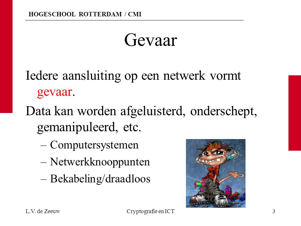 HOGESCHOOL ROTTERDAM / CMI Netwerkbedreigingen Onbevoegde toegang of gebruik van eindpunt en/of knooppunten.