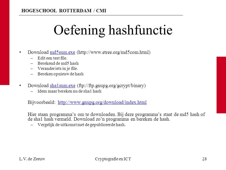 HOGESCHOOL ROTTERDAM / CMI Oefening hashfunctie Download md5sum.exe (http://www.etree.org/md5com.html)md5sum.exe –Edit een test file. –Berekend de md5